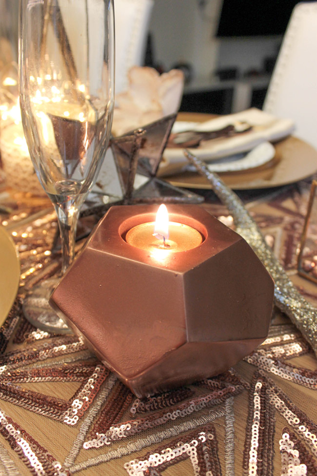 New Year's Eve Tablescape Rose gold votives are so lovely! B. Lovely Events
