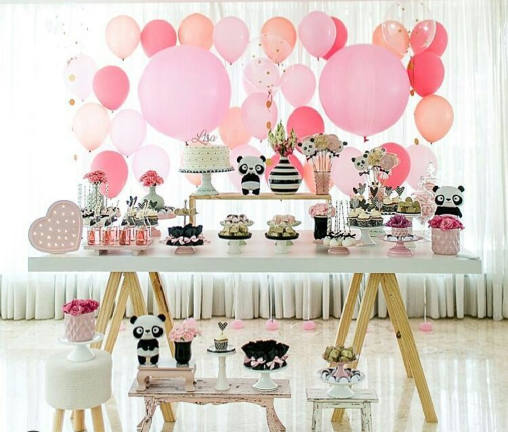 love all of the colors pink and peach of this panda party-See more Panda Party ideas on B. Lovely Events