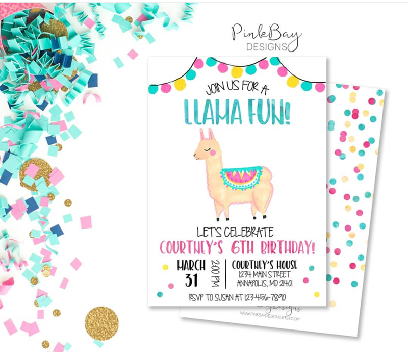 love these llama party invitations - See more llama party love on B. Lovely Events