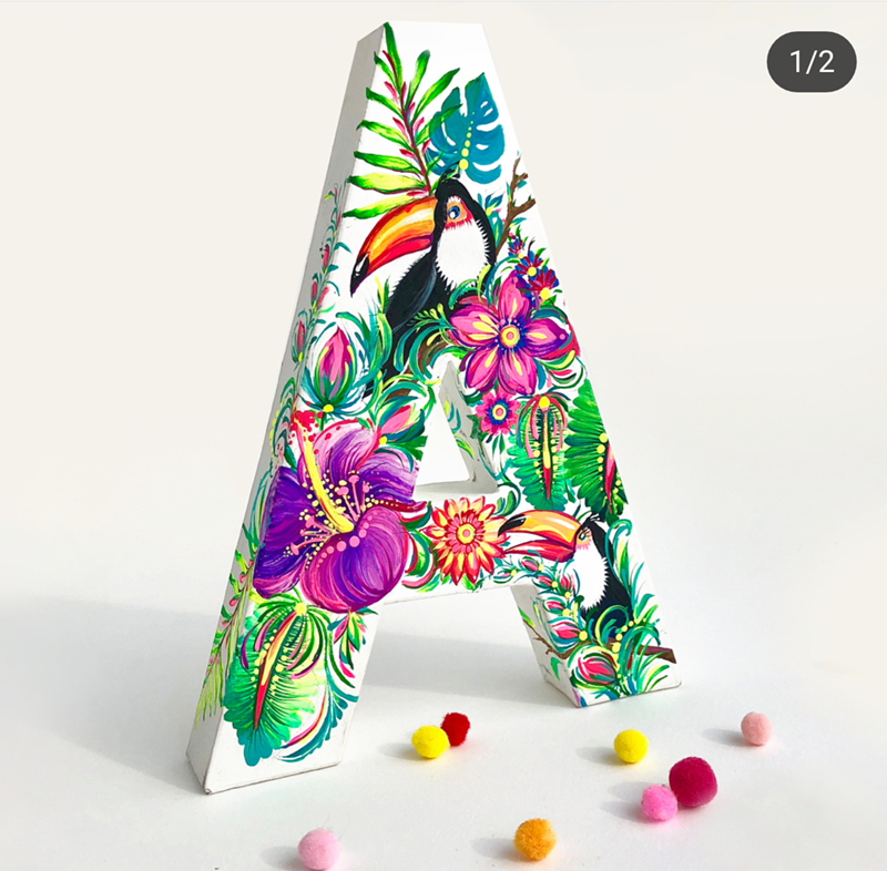 Gorgeous painted A with toucans! - See More Toucan Party Ideas at B. Lovely Events