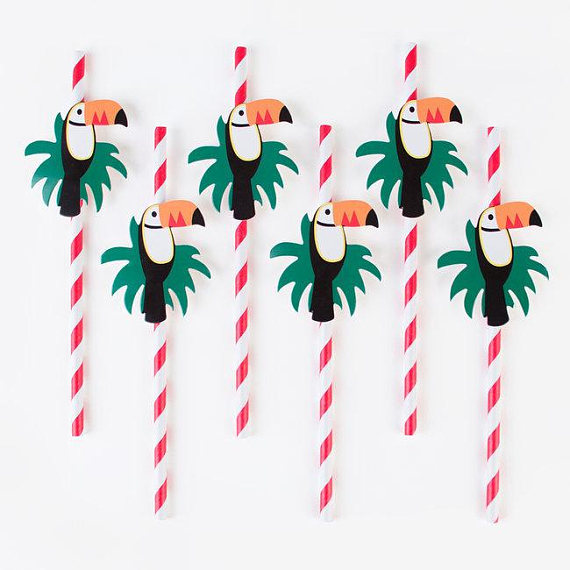 Love these Toucan straws! - See More Toucan Party Ideas at B. Lovely Events