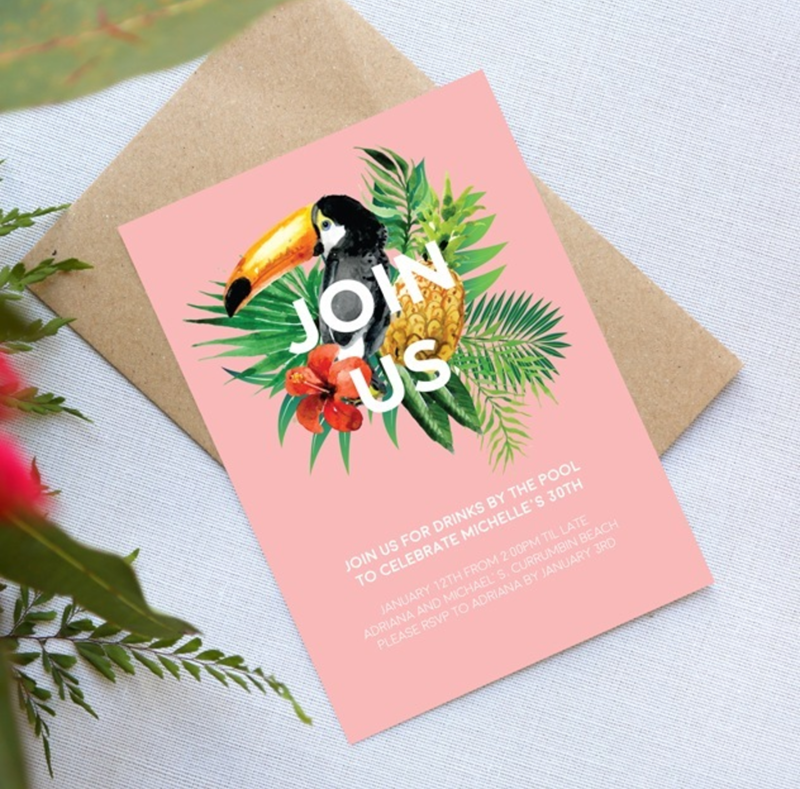 Love these toucan party invitations - See More Toucan Party Ideas at B. Lovely Events