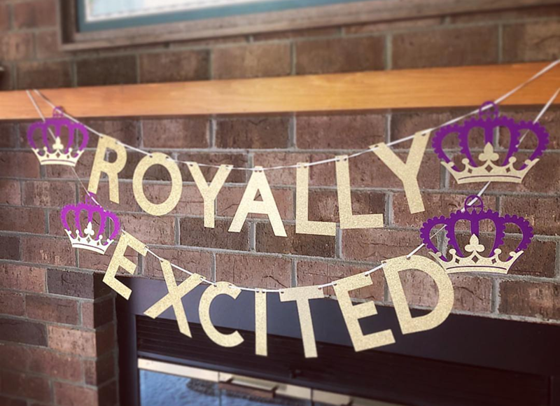 Love this royal wedding banner! - See More Royal Wedding Lovlieness at B. Lovely Events #royalwedding #partyplanning #partythemes