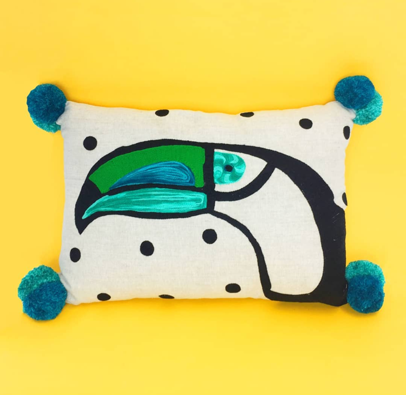 This toucan pillow is adorable! - See More Toucan Party Ideas at B. Lovely Events