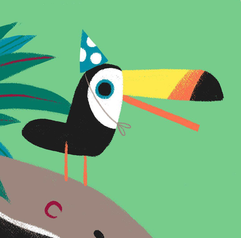 omg toucan in a party hat! SO cute! - See More Toucan Party Ideas at B. Lovely Events