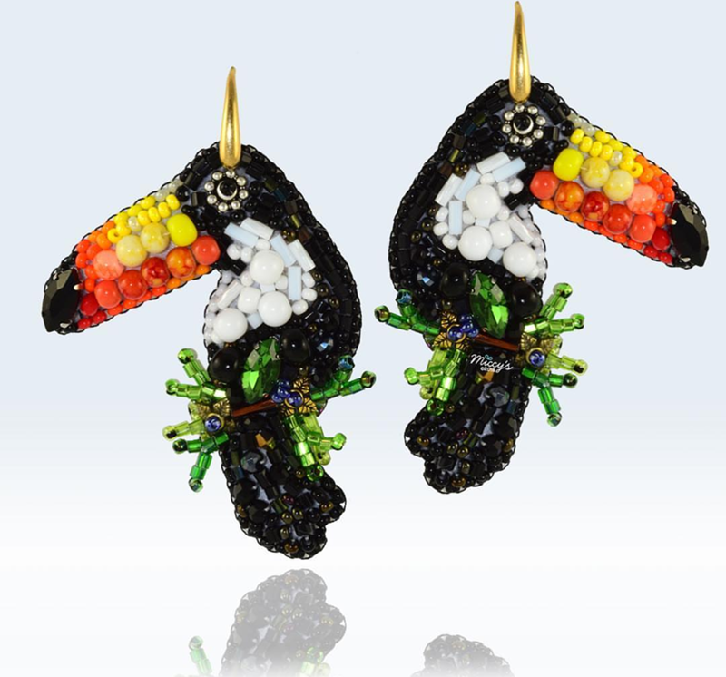 these toucan earrings are amazing! - See More Toucan Party Ideas at B. Lovely Events