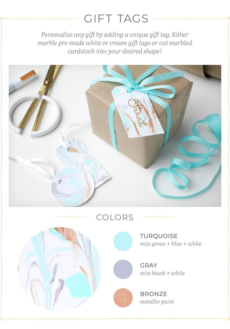 DIY marbled gift tags! Love these on B.Lovely Ebemts