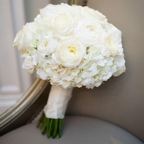 Classic White Hydrangea bouquet with ranunculus and roses- See more wedding bouquets on B. Lovely Events