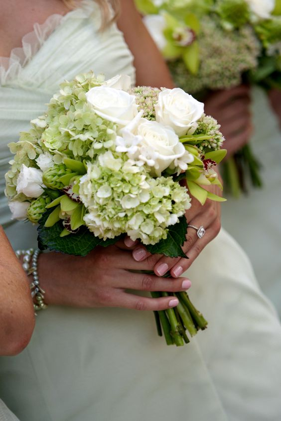 Green hydrangea wedding bouquet- See more bouquet ideas on B. Lovely Events