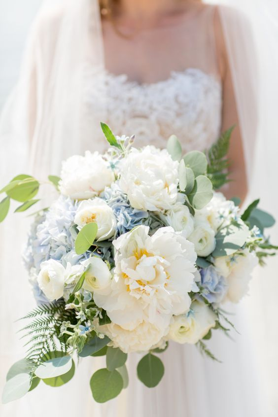 Romantic Wedding Hydrangea Bouquet-See more wedding bouquet ideas on B. Lovely Events