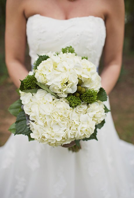 White Hydrangea Bouquet- See more wedding bouquet tips on B. lovely Events