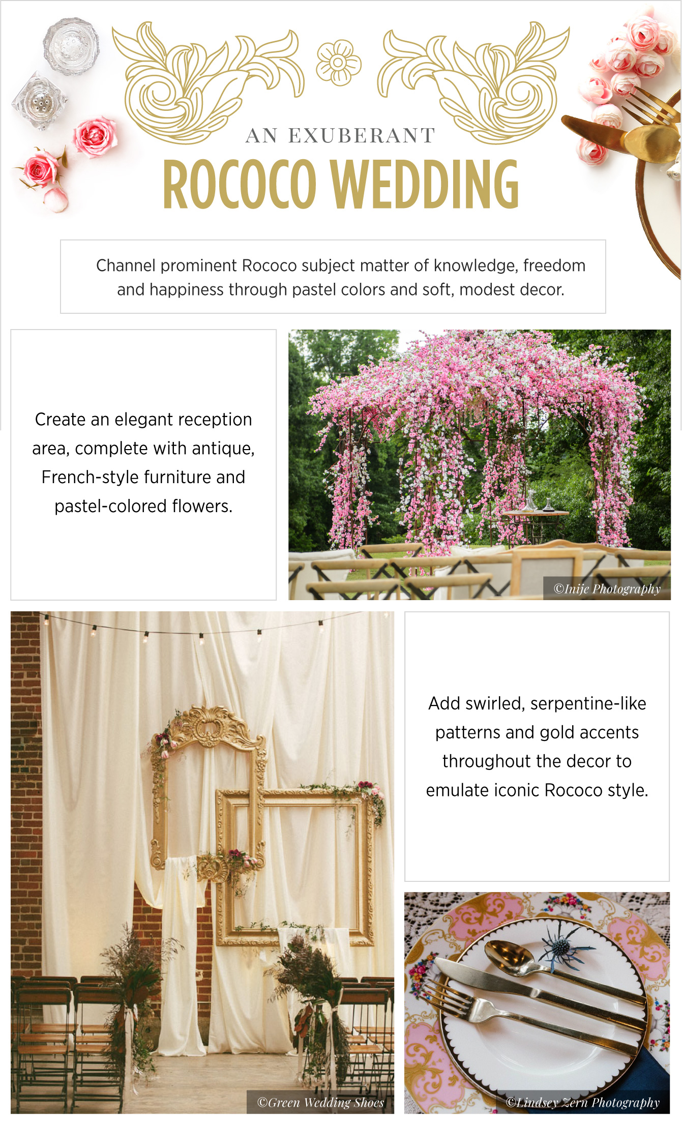 Wedding inspiration Rococo - See more inspirating wedding themes on B. Lovely Events