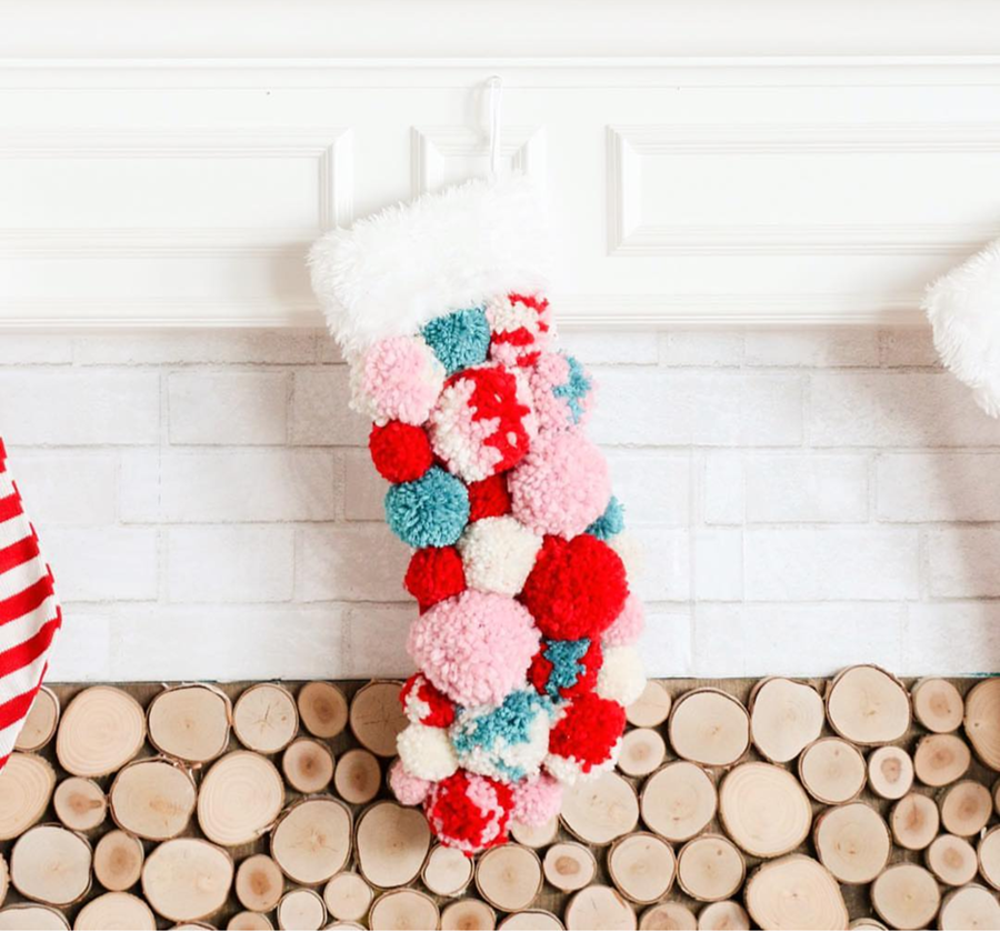 Look how darling this stocking is! I love all of the colors!- See more pink Christmas ideas on B. Lovely Events! #christmas #christmasparty #christmasideas #christmasdecor