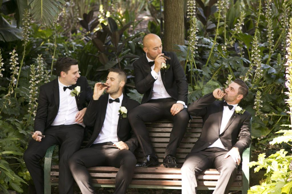 Real Wedding Belinda and michales all white wedding fun grooms men - See all the beautiful details on B. Lovely Events! #wedding #realwedding #weddingideas #weddingtips #weddingdecorations