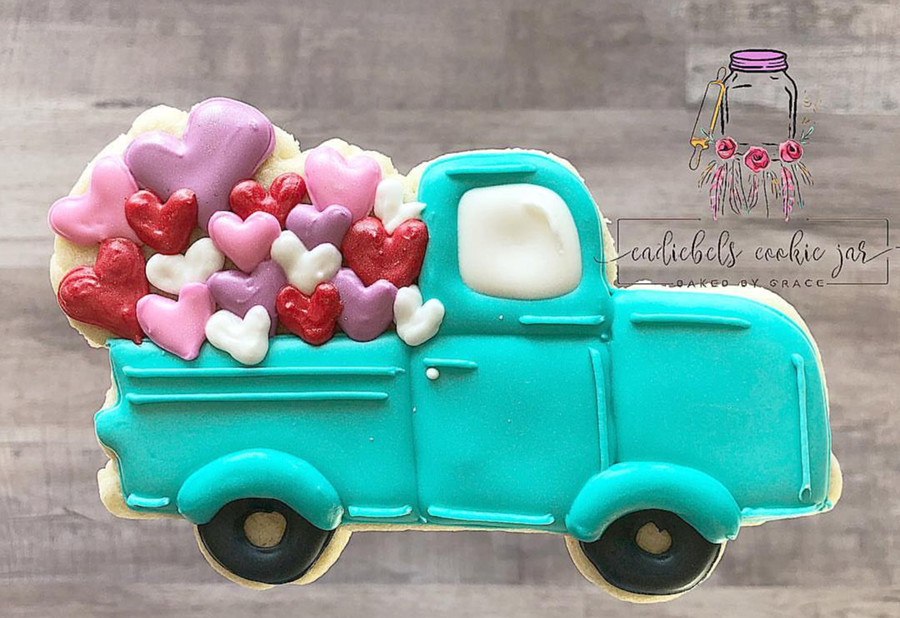 cute truck full of hearts valentine's day cookies! -See more of our favorite valentine's day cookies of 2019 on B. Lovely Events! #valentinesday #cookies #decoratedcookies