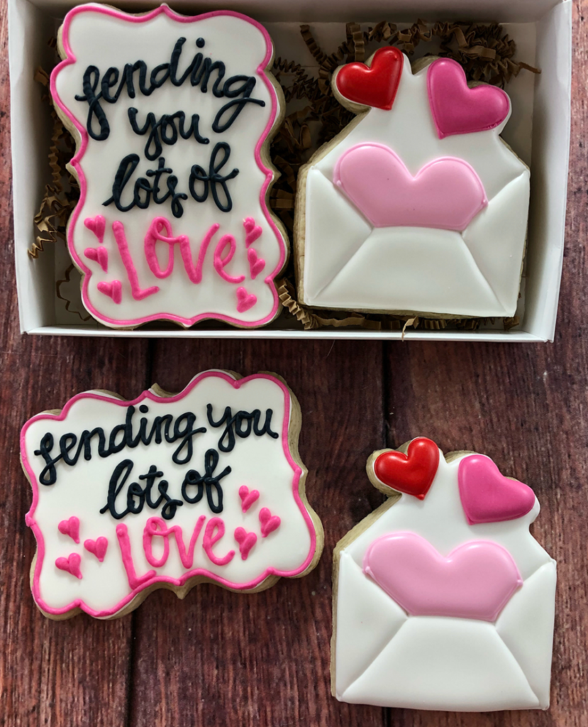 sending you lots of love valetine's day cookies -See more of our favorite valentine's day cookies of 2019 on B. Lovely Events! #valentinesday #cookies #decoratedcookies