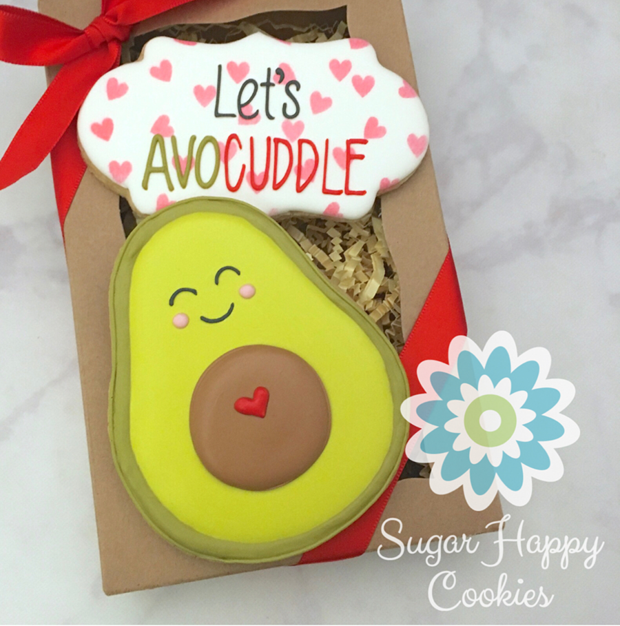 the avocuddle valentine's day cookie -See more of our favorite valentine's day cookies of 2019 on B. Lovely Events! #valentinesday #cookies #decoratedcookies