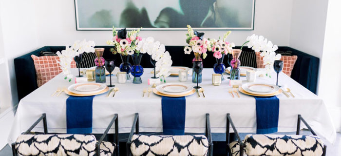 Fabulous Navy and gold valentines day dinner table- See all of the details on B. Lovely Events! #valentinesday #tablescape #orchids #anenomies #centerpiece