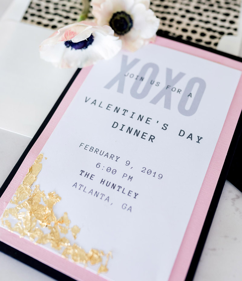 Pink and gold valentines day invitation- See all of the details on B. Lovely Events! #valentinesday #tablescape #orchids #anenomies #centerpiece