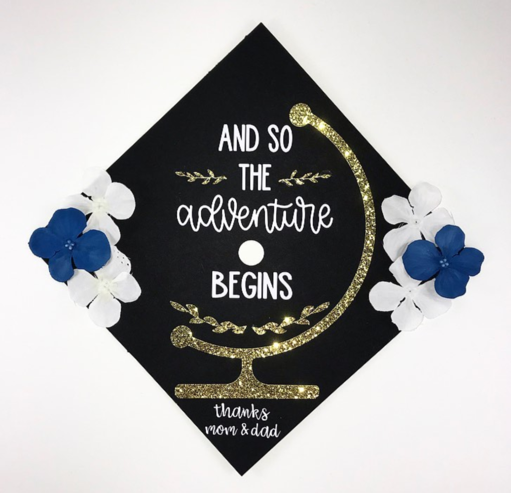 And so the adventure begins decorated graduation cap- See more graduation caps on B. Lovely Events! #graduation #graduationcap
