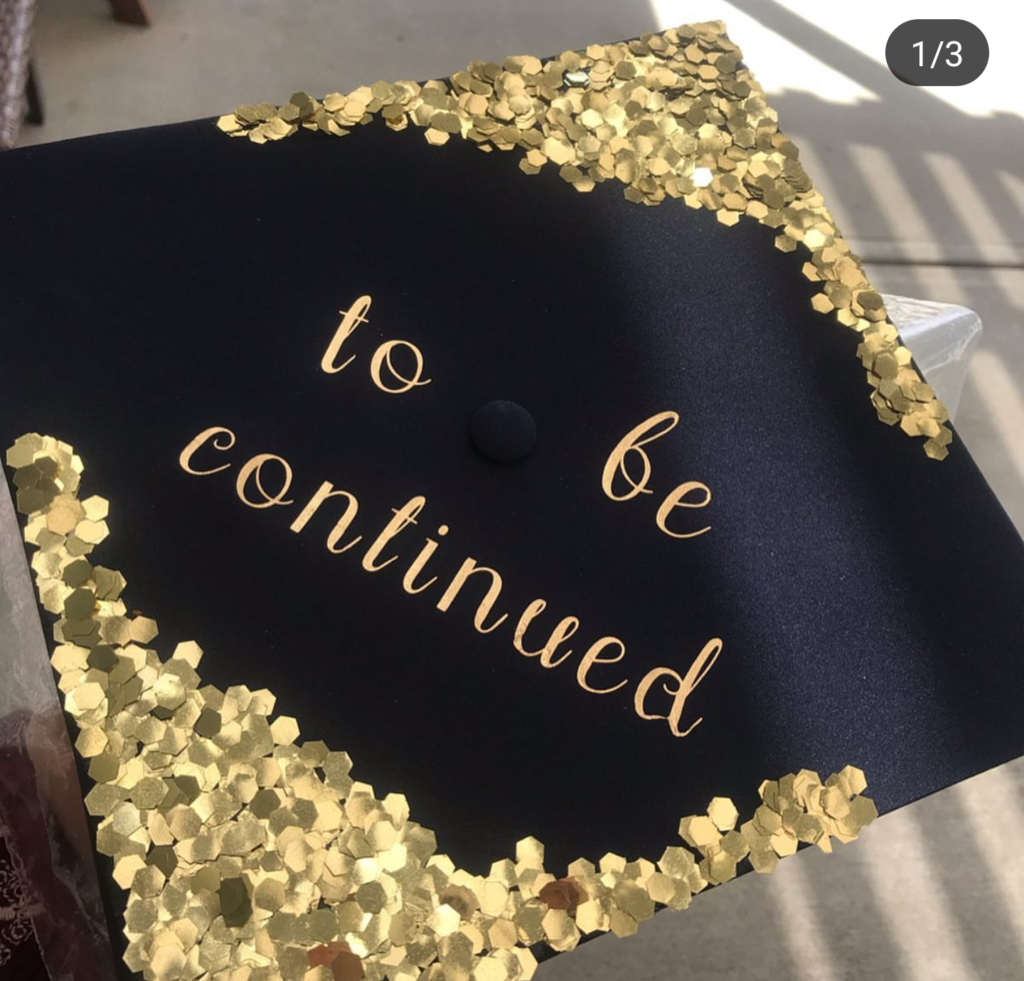 Fun gold and black decorated graduation cap- See more graduation caps on B. Lovely Events! #graduation #graduationcap