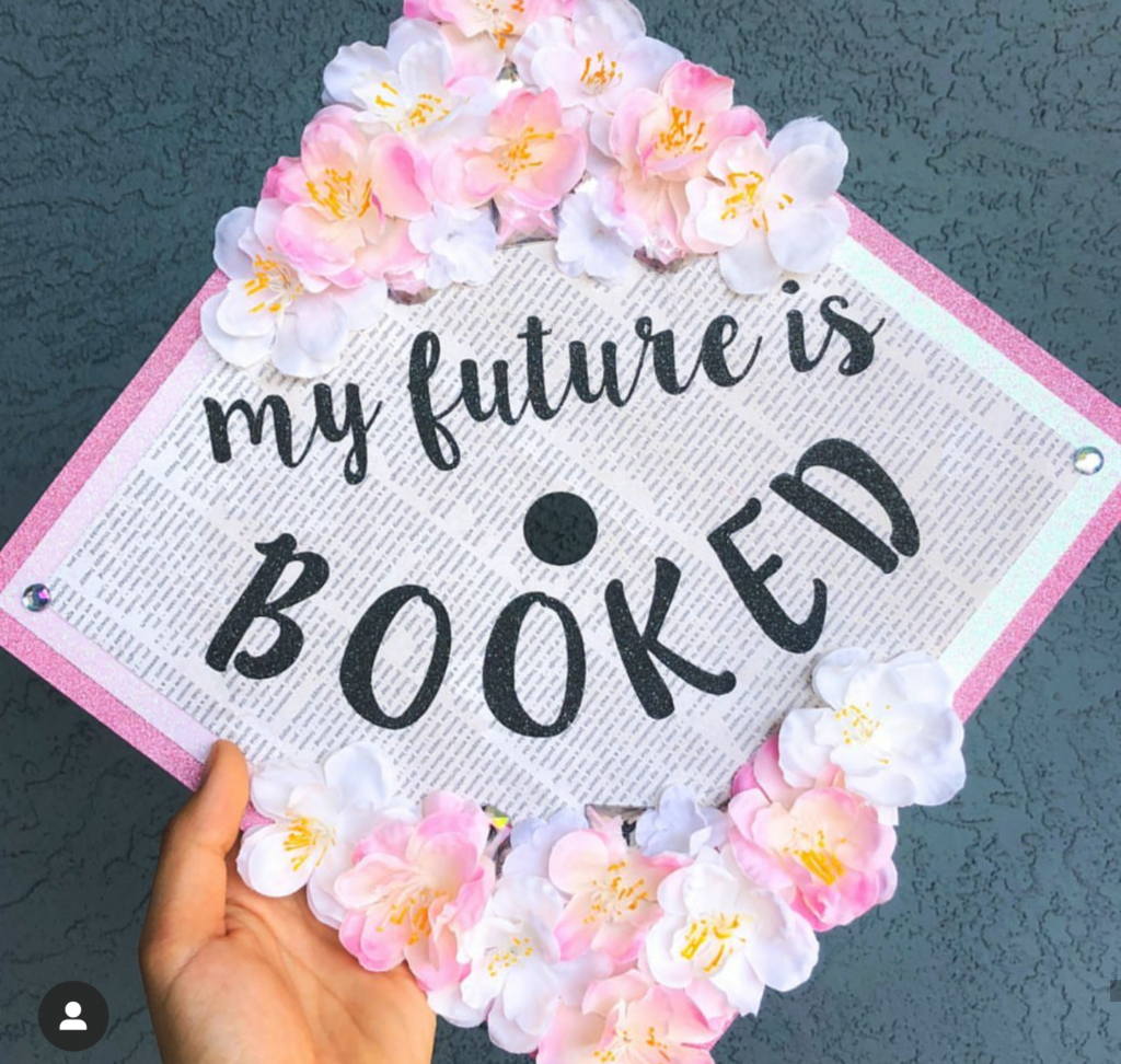 my future is booked decorated graduation cap- See more graduation caps on B. Lovely Events! #graduation #graduationcap