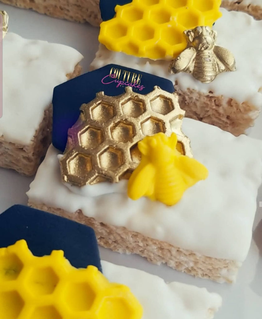 Bee Rice Crispy treats! So Cute! - See More Bee Party Ideas at B. Lovely Events