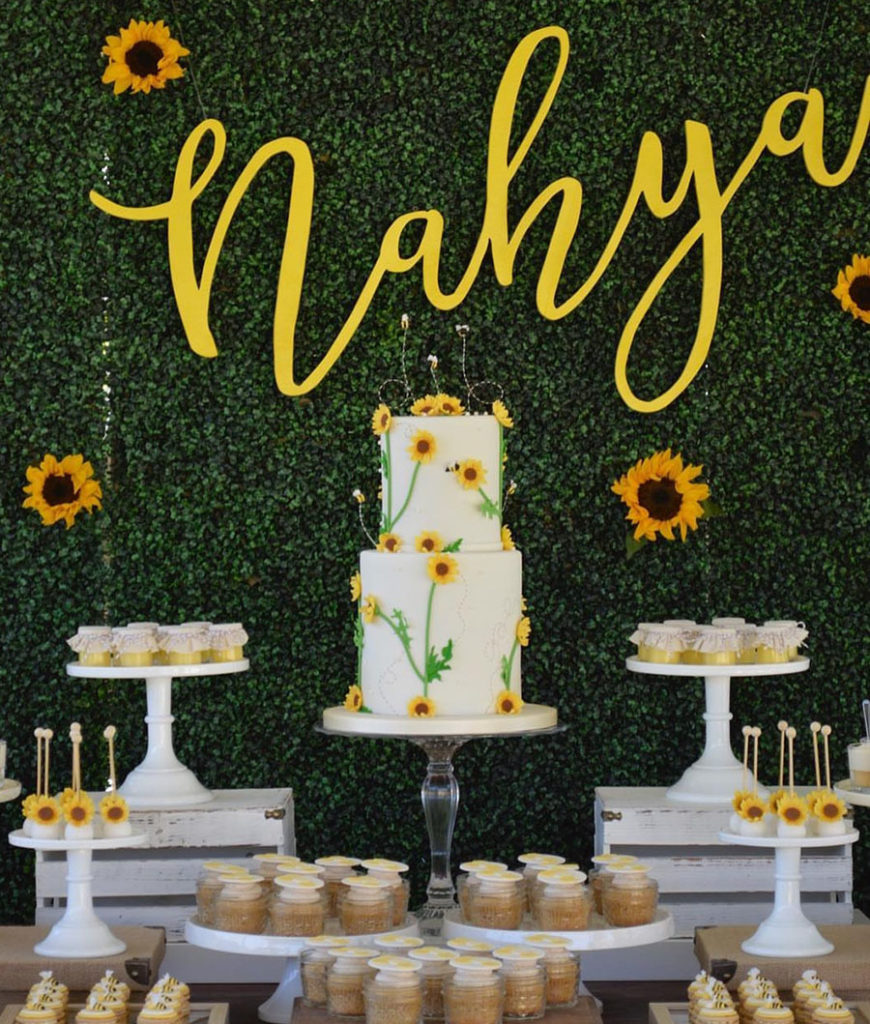 Bee Themed Dessert Bar- Love! - See More Bee Party Ideas at B. Lovely Events