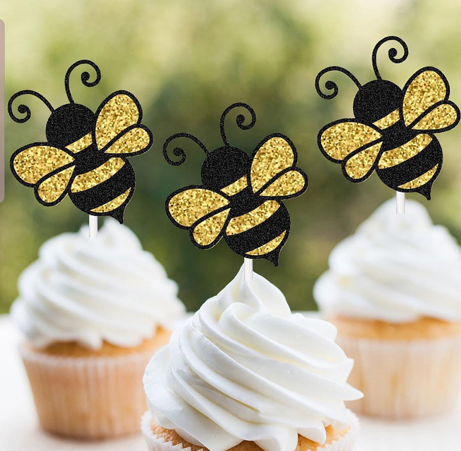 Love these Bee Cupcake Toppers! - See More Bee Party Ideas at B. Lovely Events