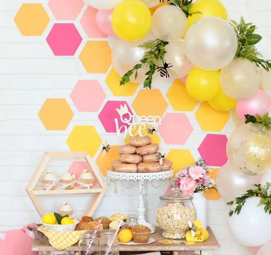 Love this fun and colorful bee party!- See More Bee Party Ideas at B. Lovely Events