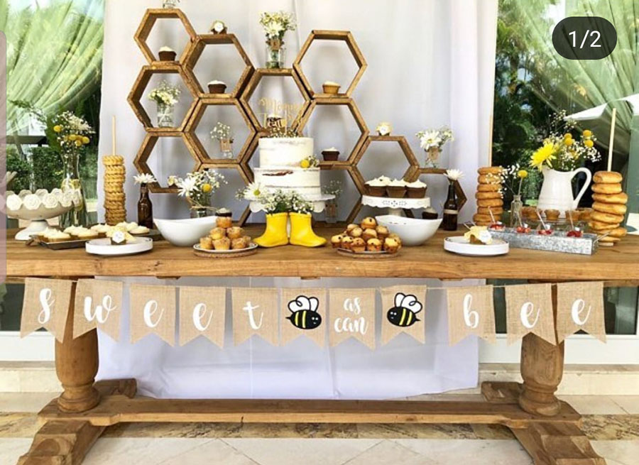 Sweet as can bee baby shower party set up! - See More Bee Party Ideas at B. Lovely Events