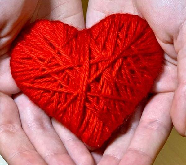 Yarn wrapped hearts to give for valentines day
