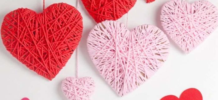 Yarn heart decorations for Valentines day