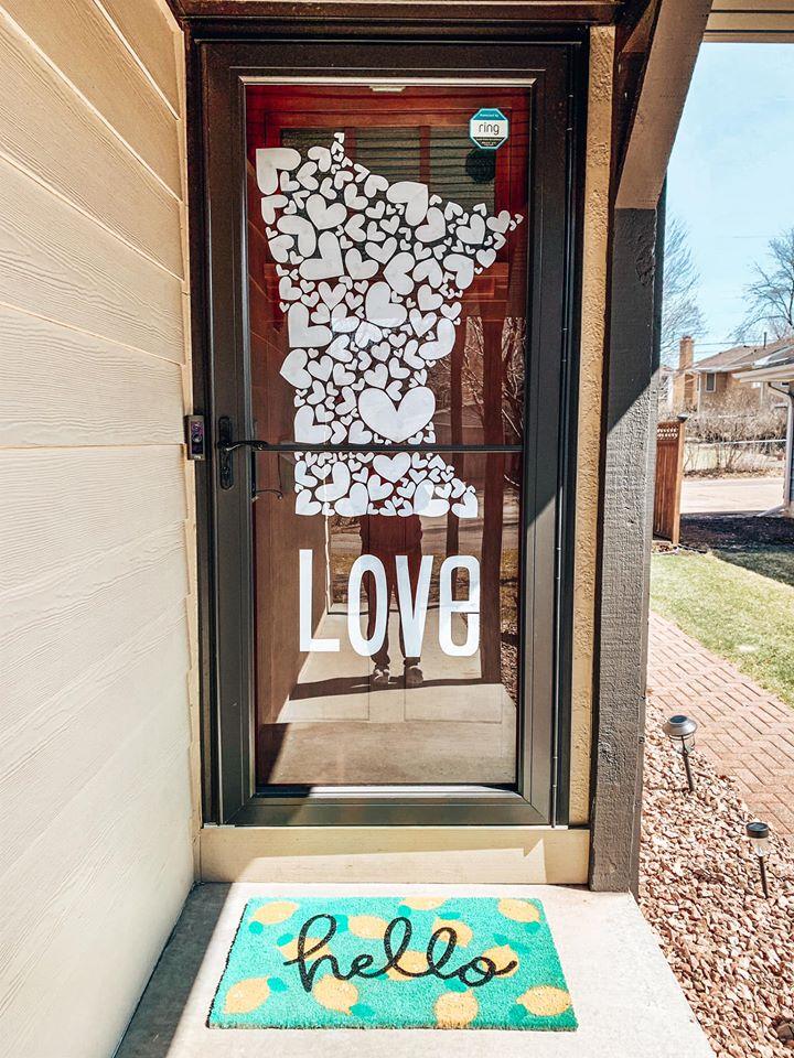 A world of hearts door decor