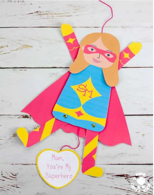 DIY Mother's Day Gifts- Super hero puppet card