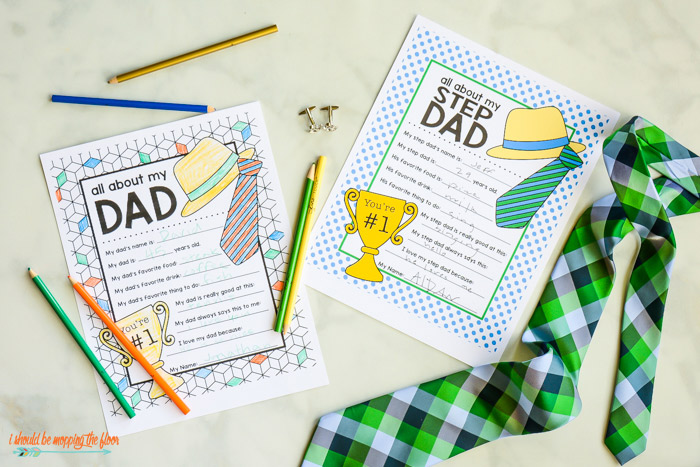 Fun Father's Day fill in the blank free printable