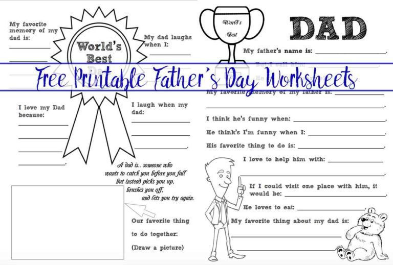 Love this free father's day printable worksheet