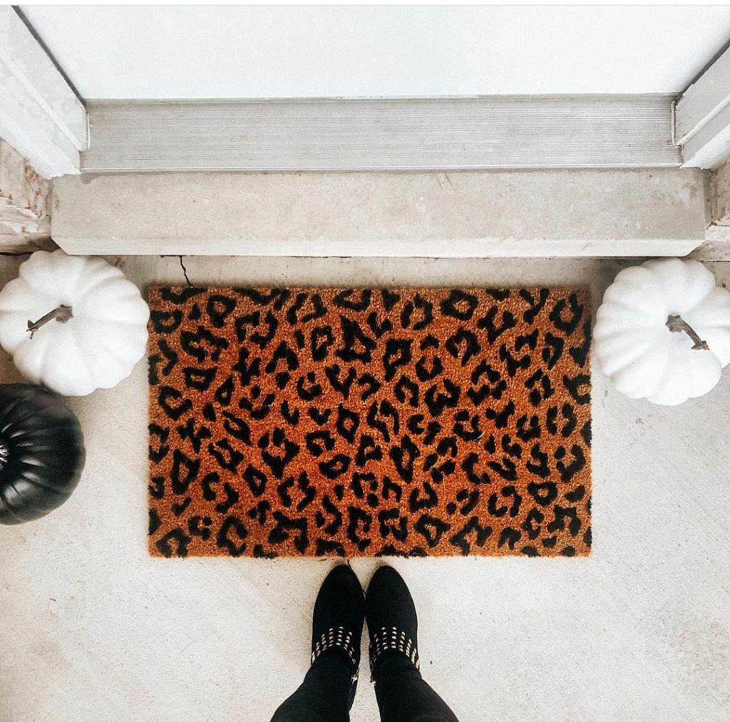 Fall Leopard print doormat