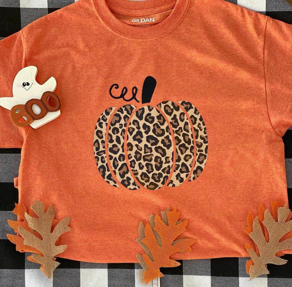leopard print pumpkin shirt