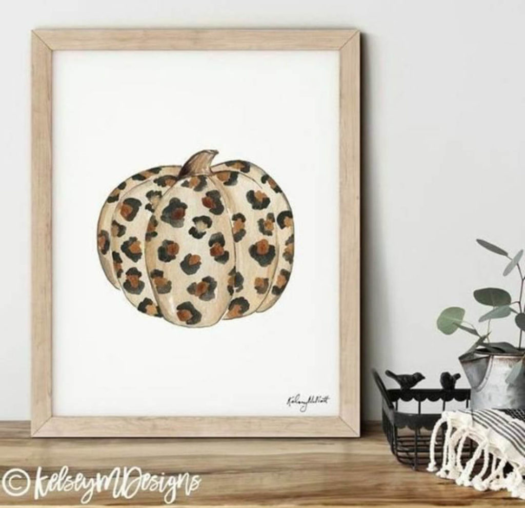 Leopard print pumpkin home sign
