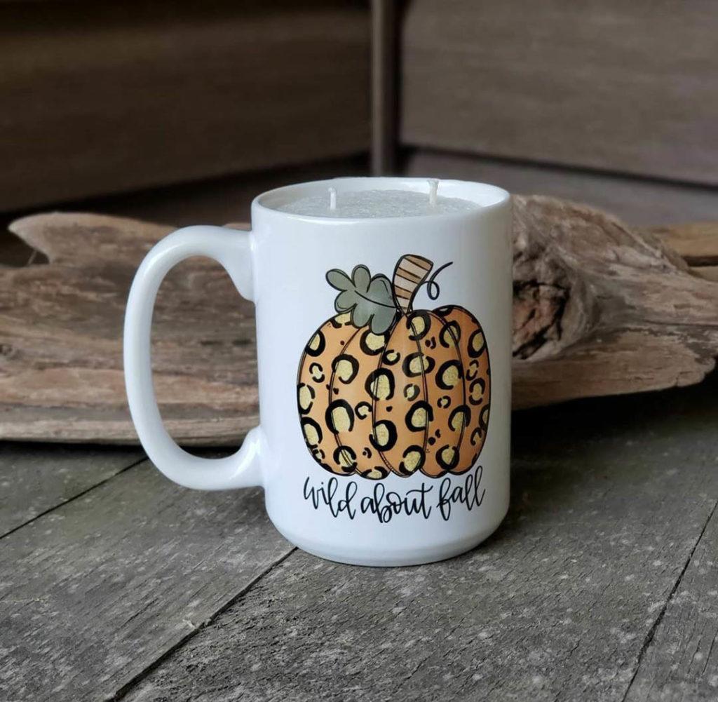 leopard print pumpkin mug