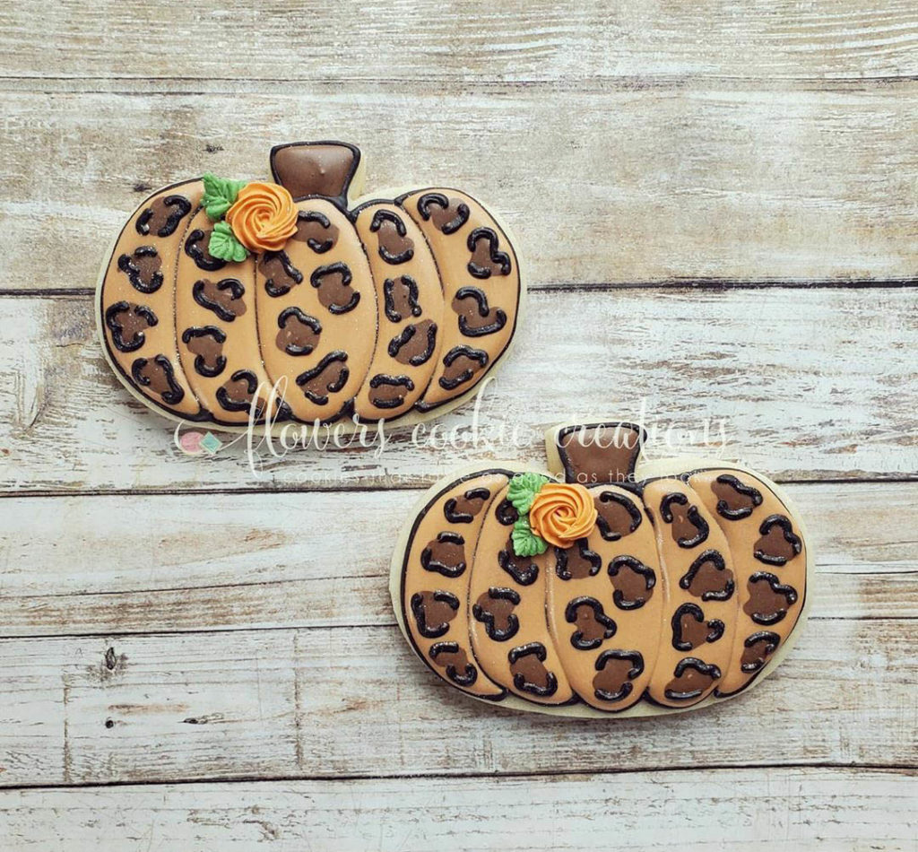 leopard print pumpkin cookies for fall