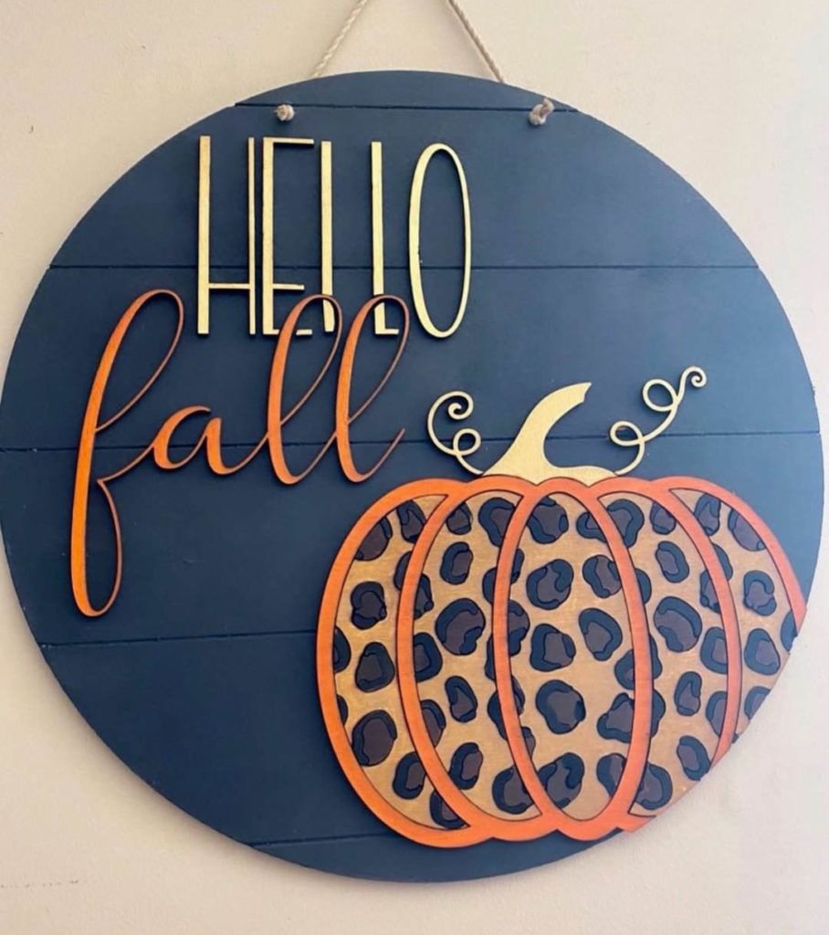 leopard print fall home decor sign