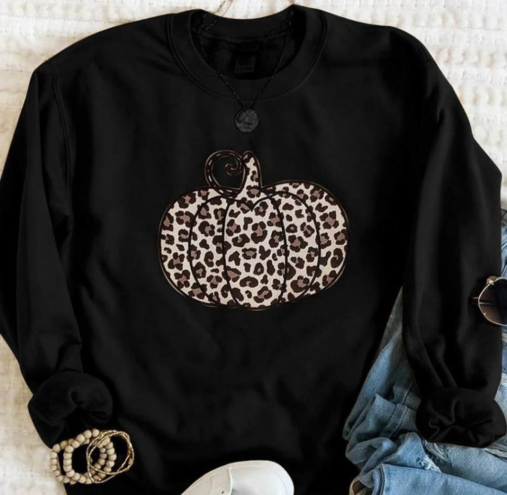 leopard print pumpkin sweater