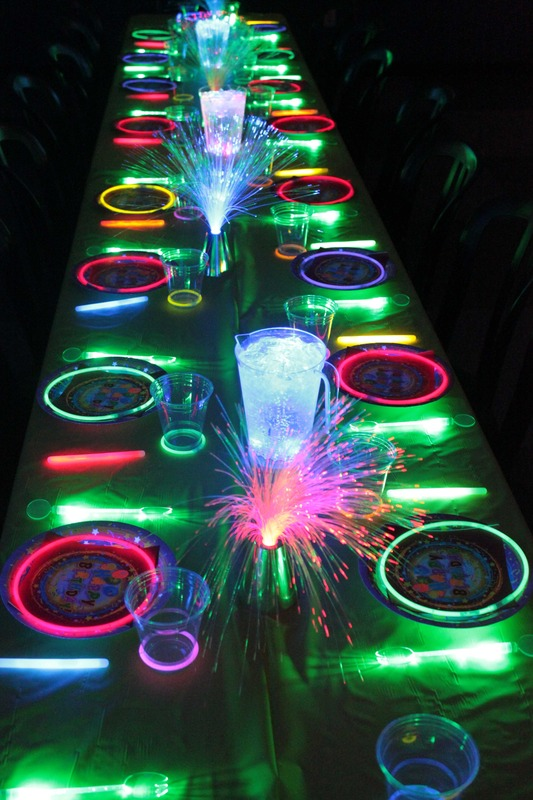 Glow In The Dark Guest Tables See More Party Ideas On
